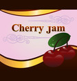red cherry jam label design template vector image vector image