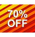 Red striped sale poster with 70 PERCENT OFF text vector image vector image
