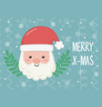 santa face branch celebration merry christmas vector image vector image