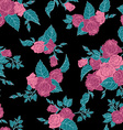 Seamless floral pattern with outline pink roses vector image vector image