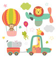 set isolated transport with bajungle animals vector image