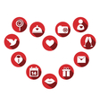 set love icons with long shadow in circles vector image