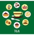 Tea flat infographic with dessert icons vector image