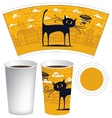 template of paper cup for hot drink vector image vector image