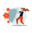 woman protected from coronavirus with shield vector image