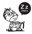 Z Zebra cartoon and alphabet for children to vector image vector image