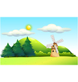 A windmill in the field vector image vector image