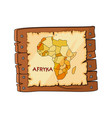africa map on wooden sign plate cartoon isolated vector image vector image