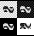 american flag icon isolated on black white and vector image vector image