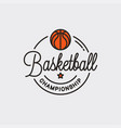 basketball championship logo round linear ball vector image vector image