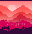 beautiful peaceful landscape red and pink vector image vector image