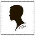 beautiful short-haired woman silhouette vector image