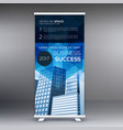 blue vertical roll up banner template design vector image vector image