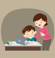 boy and mother sitting with laptop vector image vector image