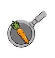 carrot vegetable inside skillet pan vector image vector image