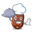 chef with food dates fruit mascot cartoon vector image