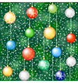 christmas background with tree and hanging baubles vector image vector image