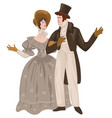 couple romanticism epoch vintage man and woman vector image