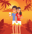 Couple vacation selfie 3 vector image vector image