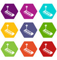cube d printing icons set 9 vector image vector image