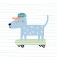 cute cartoon dog on skateboard colorful vector image vector image