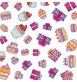 delicious cakes and gifts celebration pattern vector image