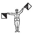 flag signal for letter q vintage vector image vector image