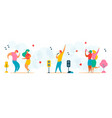 flat cartoon characters trendy people dancing vector image