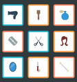 flat icons razor shears looking-glass and other vector image vector image