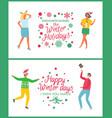 happy winter holidays celebration discounts set vector image