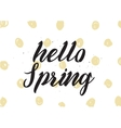 Hello spring inscription Greeting card with vector image