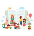 kids reading books children in group enjoying vector image vector image