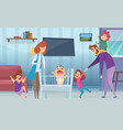 large family tired parents and active children vector image vector image