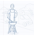Man preparing barbecue vector image vector image