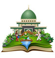 open a book with group of happy muslims people in vector image vector image