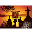 Postcard sights of Japan vector image vector image