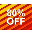 Red striped sale poster with 80 PERCENT OFF text vector image vector image