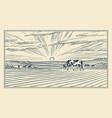 rural meadow a village landscape with cows hills vector image vector image