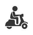scooter driver stick figure man icon on white vector image vector image