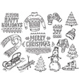 set black and white hand drawn christmas vector image