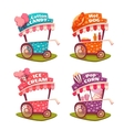 Set of fast food carts Icecream cotton candy vector image vector image