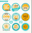 set of retro vintage blue and yellow labels and vector image
