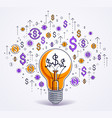 shining light bulb and set of dollar icons vector image