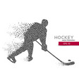 silhouette of a hockey player from triangles vector image vector image