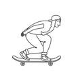 skateboarder girl sketch vector image