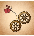 Smoothly spinning gears symbol vector image vector image