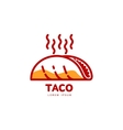 Stylized hot freshly made Mexican taco logo vector image