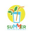 summer refreshing cocktail with straw fruits and vector image vector image