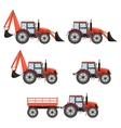Tractor excavator bulldozer set vector image