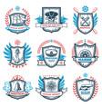 vintage colored nautical emblems set vector image
